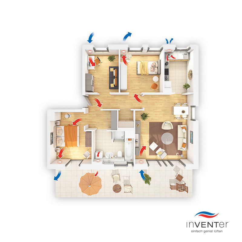 wohnrauml ftung mit w rmer ckgewinnung mit dem inventer l ftungssystem niedriger stromverbrauch. Black Bedroom Furniture Sets. Home Design Ideas